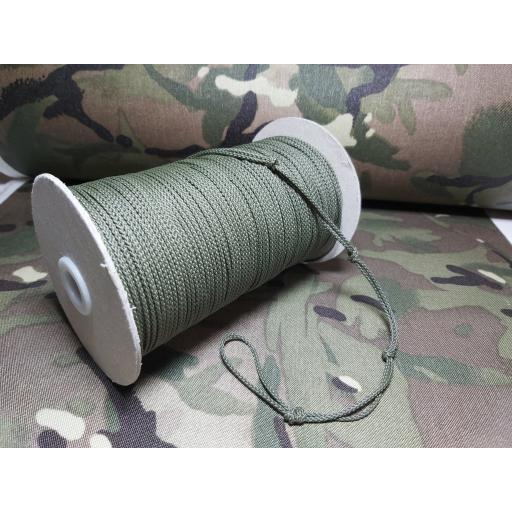 2mm polypropylene woven cord ( olive)